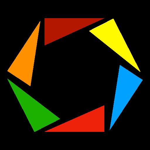 """Logo des RPJ Erlangen mit sechs Dreiecken um den Schriftzug """"RPJ Erlangen"""", in den Farben der jeweiligen Partei"""